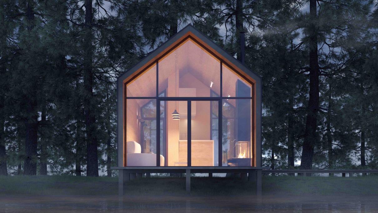 Tiny House mit großer Glasfront