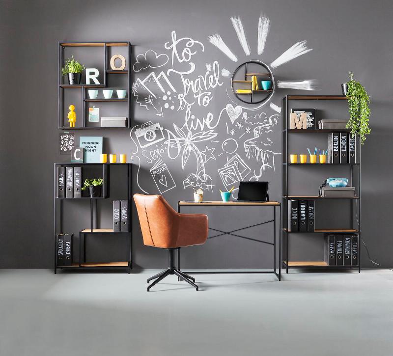 Brauner Leder-Schreibtischstuhl